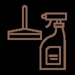 Symbol einer Sprayflasche und eines Abziehers im Rahmen der Hygienemaßnahmen im Hotel München Innenstadt